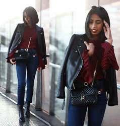 Maëva Rakotoarimanana - Zara Top, Mango Cross Body Bag, Pull & Bear Jeans, Zara Leather Jacket - Edgy me