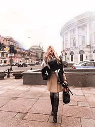 Nastassja Oleinik - Michael Kors Coat, Marc By Jacobs Tote Bag, Tommy Hilfiger Poncho - Week-end a SPb