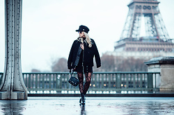 Joicy Muniz - Style Moi Cap, J. Lindenberg Jacket, Sneaky Fox Tights, Moschino Bag - When Punk meets Paris