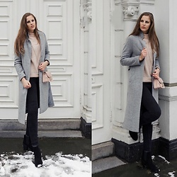 Maria B - Furla Bag, New Look Coat, H&M Sweater, Zara Jeans, H&M Booties - Blush & Grey