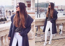 Aliz M - Zara Coat, Zara White Pants, Adidas Superstar, Zara Khaki Shirt - Khaki & White