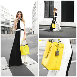 Jasmin Kessler - Ralph Lauren Bag, Ted Baker Dress, Whole Outfit / More Pictures - Ted Baker Statement Dress & Yellow Ralph Lauren Bag