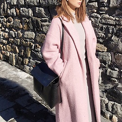 WMwatchme - Mansur Gavriel Bag, W Concept Pink Coat, Oak And Fort Grey Dress - Pink spring
