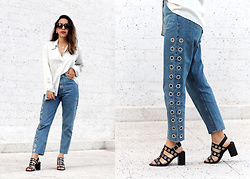 Vivi Valenzuela - Link On The Blog! Eyelet Jeans, Vintage Silk Shirt, Basement Eyelet Sandals - EYELETS