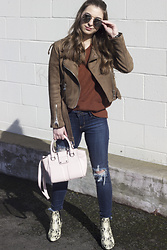 Fashion Sensored - Suede Jacket, Sam Edelman Snake Skin Boots, Zaful Brick Red Sweater - Shades of brown