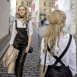 Adriana M. - Mango Black Leather Dungarees, Ann Taylor Classic White Shirt - OOTD: leather dungarees