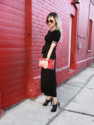 Lina Dinh - Valentino Rockstud Clutch, Chloe Carlina, Aritzia Hyun Top, Christian Louboutin Cut Out Booties - A little red