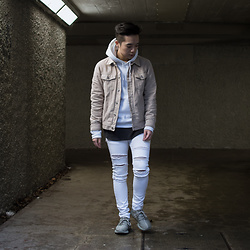 Lucas Hui - Topman Beige Denim Jacket, H&M White Distressed Skinny Jeans - Woke Up And Felt The Vibe