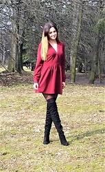 StylJustine - Vubu Dark Red Dress - Dark red dress