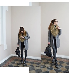 KRST VIEW - Zara Coat, H&M Chinos, Bronx Boots, Italian Boutique Backpack, Massimo Dutti Pompom - GREY