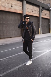 Phil Valles - Topman Hoodie, Topman Joggers, Vans Sneakers, Schott Leather Jacket, Ray Ban Sunglasses - The Sweat Suit