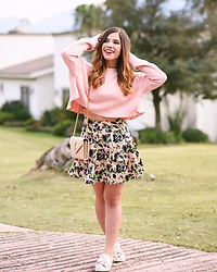 Marian Escoto - Zara Cropped Hoodie, Nordstrom Floral Skirt, Ysl Beige Crossed Body, Stradivarius Bow Sneakers - Sweet pink