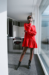 SGTURNINGPOINT.COM - Round Vintage Sunglasses, Red Romper Dress, Shiny Black Patent Booties - ? TURNING POINT ?