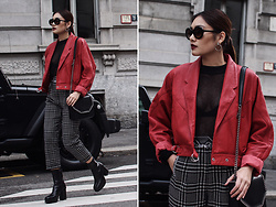 Thao Nhi Le - Topshop Red Leather Jacket, Topshop Checked Pants, Stella Mccartney Chain Bag, Dr Denim Mesh Top - Punk Chic