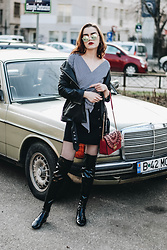 Andreea Birsan - Round Mirrored Sunglasses, Gingham Wrap Top, Biker Leather Jacket, Lace Up Mini Skirt, Red Metropolis Bag, Patent Over The Knee Boots - The best way to wear a gingham wrap top II