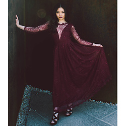 LILMISSBIANCA - Rosegal Wine Lace Evening Dress - 0705