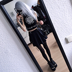 Kimi Peri - Long Clothing X Grace Neutral Crop Top, Black Milk Clothing Matte Pinafore Pocket Skater Skirt, Tights, Killstar Phone Case, Platform Sandals - Black Milk and White Silk