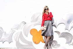 Cindy Batchelor - Amazon Red Chiffon Blouse, Amazon Gold Envelope Clutch, Amazon Layered Necklace, Amazon Studded Heels, Amazon Silver Pleated Skirt - Red chiffon button down and silver pleated skirt