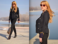 Martina Manolcheva - H&M Blazer, Zara Pants, Michel Shoes - Military Details