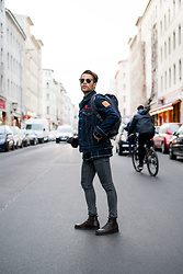 Kevin Elezaj - Selected Homme Chelsea Boots, Asos Jeans, Cos Shirt, Levi's® Jacket, Eastpak Bag, Ray Ban Glasses - March