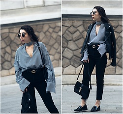 Theoni Argyropoulou - Pull & Bear Leather Jacket, Gingham Shirt Blouse, Belt, Asos Slim Mom Jeans, Shoulder Bag, H&M Loafers, Necklace, Round Sunglasses - Gingham Trend on somethingvogue.com