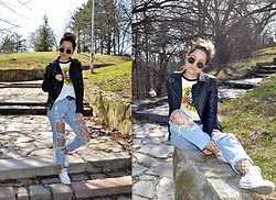 Marija M. - Guns N Roses Shirt, C&A Faux Leather Jacket, Distressed Jeans, Converse White Sneakers - Guns 'n' roses