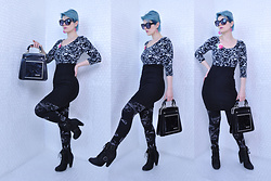 Suzi West - Grease Rags Clothing Company Sunglasses, Sveet Couture By Chandra Sweet Fabric Scrap Brooch, Nasty Gal Longsleeve Crop Top, Forever 21 Bodycon Dress, Old Navy Leggings, Seychelles Boots - 09 February 2017