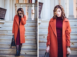 Vlada Avornic - Vistline Coat, Jennyfer Dress, Zaful Boots - Flame