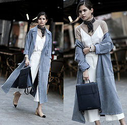 Adriana Gastélum - Shein Blue Trench, Cami Nyc Camisole, Mango Culottes, Strathberry Backpack - Dusty Blue