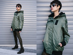 Sheena Son - Forever 21 Sunnies, H&M Earrings, Zara Long Line Bomber, Gerbe Tights, Sophie & Sam Studded Boots - Give Me A Bomber