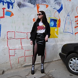 Adriana Ch - Forever 21 Skirt, Topshop Sunglasses, Zara Top - Another vintage jacket