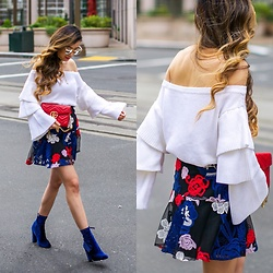 Sasa Zoe - Tiered Ruffle Top, Skirt, Sunglasses, Choker, On Sale For Only $50 Ankle Booties, Bag - TIERED RUFFLES