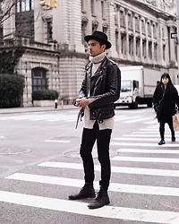 Phil Valles - Goorin Brothers Hat, H&M Turtle Neck, Schott Nyc Leather Jacket, Allsaints Boots - The Frost