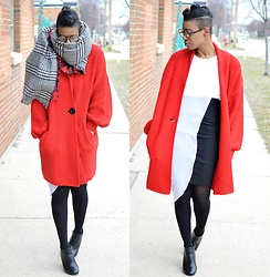 Sushanna M. - Reversible Plaid Blanket Scarf, Thrifted Vintage Red Duster Cardigan, Thrifted White Dress Sheer Asymmetrical Overlay, Thrifted High Waisted Black Pencil Skirt - Better The Devil You Know