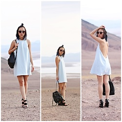 Amy Lai - Tobi Backless Dress, Kendall & Kylie For Steve Madden Wedges, Nordstrom Rack Backpack, Cotton On Cat Eye Sunnies - The Deserted.