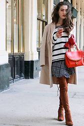 Veronika Lipar - Storets Black And White Plaid Tweed Mini Skirt, Stuart Weitzman Brown Suede Otk Boots, Moschino Black And White Striped Sweater, See By Chloé Pink Bag, Maxmara Ivory Coat - Black and White French Power Stripes