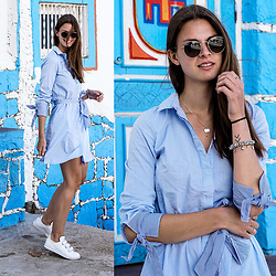 Jacky - Ray Ban Sunglasses, Reserved Shirt, Adidas Sneakers - Striped Shirt Dress