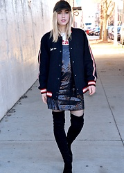 Dani Mikaela McGowan - Zara Varsity Bomber Jacket, Sans Souci Sequined Slip Dress, Asos Black Fishnet Tights, Steve Madden Black Over The Knee Boots, Madewell Graphic T Shirt, Faux Leather Dad Hat - Slip into Something More Comfortable