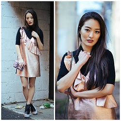 Kimberly Kong - Zara Metallic Minidress, Ysl Snakeskin Crossbody Bag, Guilty Soles Wedges - The Metallic Fringe Mini: A Photo Diary