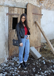 Pretty-Roxanne Stratmains ☥ - Jules Brown Glasses, Bershka Black Perfecto, Chicme Red Bodysuit, Ober Boyfriend Jeans, Pull & Bear Black Derby - Come as you are