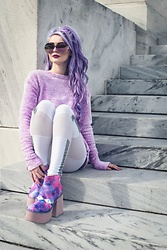 Alyssa Claire - Sugarcoma Fuzzy Sweater, Esqape Glasses, Esqape Leggings, Yru Vida Boots - Purple love ?