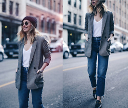 Jillian Lansky - Acne Studios Wool Beanie, H&M Plaid Boyfriend Blazer, Grlfrnd Denim Vintage, Gucci Leather Loafer Slides - BLAZER WITH GUCCI SLIDES