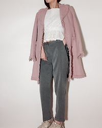 BLUEBLUE US - Vintage Sleeveless Crop Top, Soup Dusty Pint /Indy Pink/ Rose Pink Coat, Vintage Gray Slim Trouser Slacks - Dailylook dusty pink
