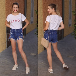 Heidi Landford - Seed Heritage Ciao Shirt, Zara Embroidered Denim Shorts, Wittner Woven Flatforms, Michael Kors Quilted Bag, Pandora Silver Hoop Earrings - C!ao