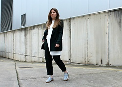 Angharad Jones - Zara Jacket, Cos Top, Zara Trousers, Adidas Trainers - The Green Suit