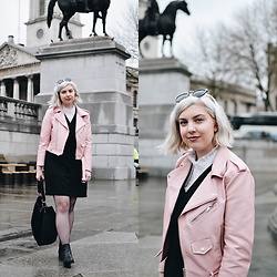 Elizabeth Claire - Zara Pastel Pink Leather Jacket, Target Black Faux Suede Dress, Primark White Blouse, Asos Black Chelsea Boots - Playing Tourist
