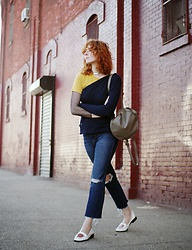 Claire Geist - Minor History Full Moon Backpack, Jacquemus Disco Shoulder Cardigan, Madewell Soft Tee, Madewell Kick Flares, Opening Ceremony Cut Out Loafers, Vintage Net Top - Sleeve • Play