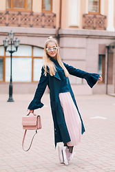 Anna Pogribnyak - Lost Ink Outerwear, Lost Ink Shoes - Spring 2017 fashion trends: bell sleeves, fishnet tights, cu