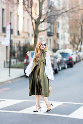 Ashley Hutchinson - Khaki Trench Vest, Topshop Khaki Green Pleated Midi Skirt, Sole Society Black Rockstud Pumps, Chloé Gold Chloe Drew Bag, Shein Off The Shoulder Blouse - Khaki Green & Gold
