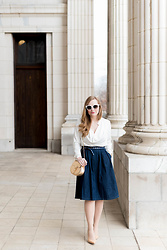 Ashley Hutchinson - Finders Keepers The Label White Cowl Neck Blouse, Zara Jean A Line Skirt, Ada Navy Stud Wrap Belt, Chloé Gold Chloe Drew Bag, Stuart Weitzman Cork Pumps, Céline White Sunglasses - Denim Skirt + Cowl Blouse